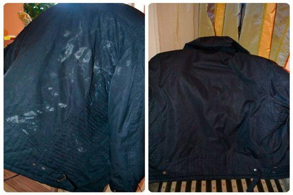 Как убрать черные пятна на куртке фото